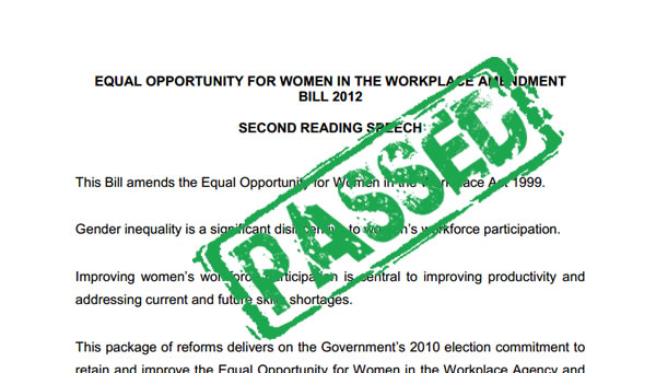 workplace gender equality act passed
